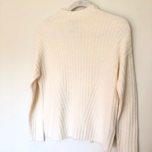 Cream Mock Neck Ribbed Sweater